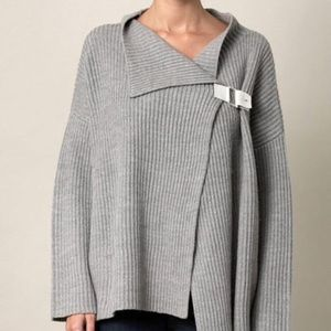 DVF Gray 100% wool thick cardigan sweater -L